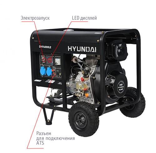 "Генератор HYUNDAI  ""DHY 6000LE""  мощностью 5кВТ"