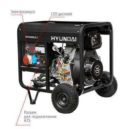 "Генератор HYUNDAI  ""DHY 6000LE-3""  мощностью 5кВТ, фото 2"