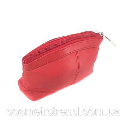 Косметичка женская красная из натуральной кожи Swan (Индия) 512139/red  18*11*5 см, фото 2