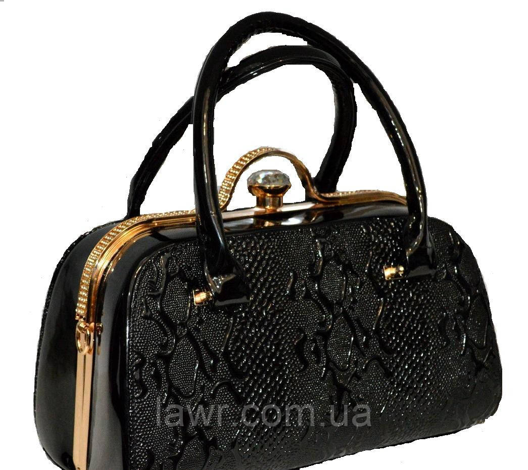 ac6f0a660f0f Стильная, лаковая женская сумка, саквояж, Willow, 007412 - Интернет-магазин