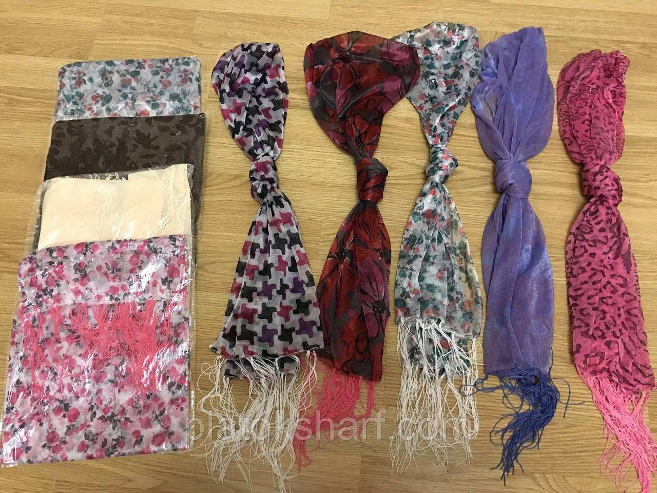 Шарфы, шарфики женские с цветным принтом и висюльками 150+50 см