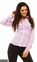 Повседневная женская рубашка приталенного фасона в полоску рукав длинный стрейч бенгалин