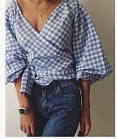 Женская свободная клетчатая рубашка на запах. Материал: коттон. Размер: универсальный с,м,л.