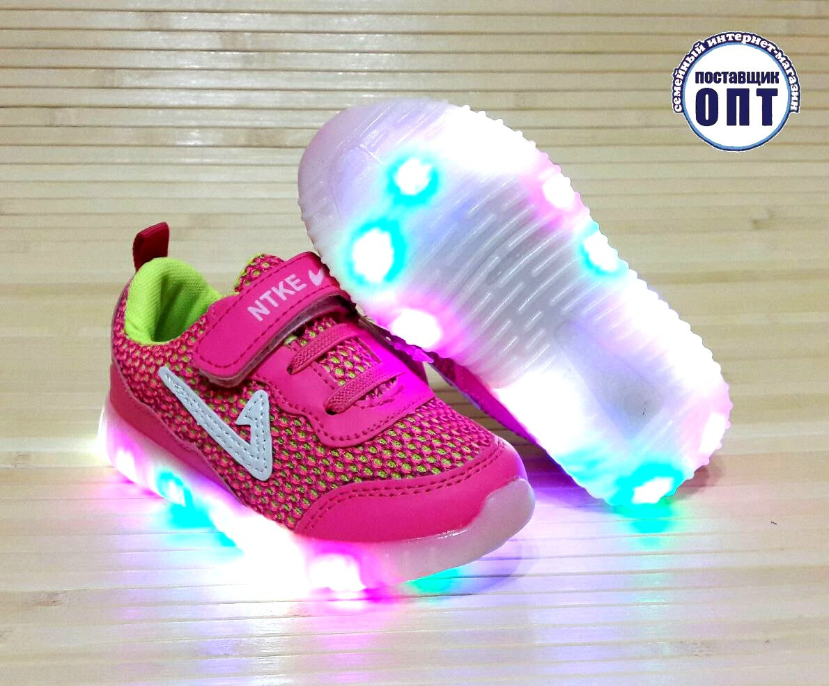 Кроссовки для девочки со светящейся подошвой 21, 23, 24