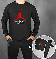 Спортивный костюм Jordan Flight черный красный лого (люкс копия)