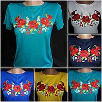 Красивая вышитая футболка (трикотажная), S-4XL р-ры, 195/165 (цена за 1 шт. + 30 гр.)
