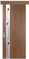 Раздвижная дверь Квадра Злата, ПВХ, ольха премиум, орех премиум (стекло с рисунком Р1)