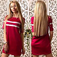 Удобная повседневная туника-платье с кожаными вставками