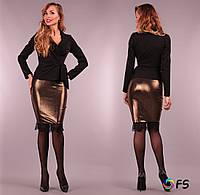 Соблазнительная кожаная юбка с кружевом по низу