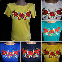 Женская футболка-вышиванка желтого цвета (трикотаж), S-4XL р-ры, 195/165 (цена за 1 шт. + 30 гр.)