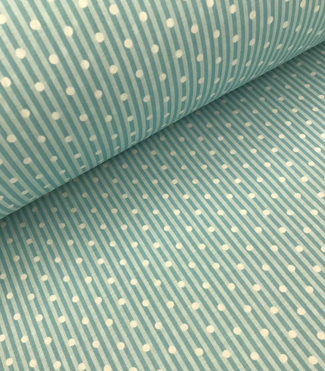 Хлопковая ткань польская полоска светло-бирюзовая с белым горошком