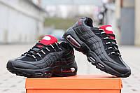 Мужские кроссовки Nike Air Max 95 , пресс кожа, черные / кроссовки мужские Найк Аир Макс 95, модные