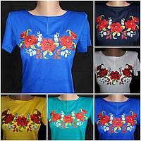 Трикотажная вышитая футболка с коротким рукавом, S-4XL р-ры, 195/165 (цена за 1 шт. + 30 гр.)