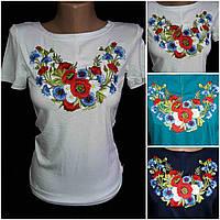 Нарядная вышитая футболка с коротким рукавом, S-4XL р-ры, 195/165 (цена за 1 шт. + 30 гр.)