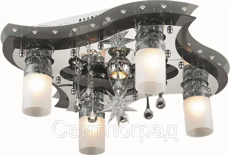 Светильник Потолочный с Led Подсветкой  с Плафонами  Altalusse LV202-05 White & Chrome