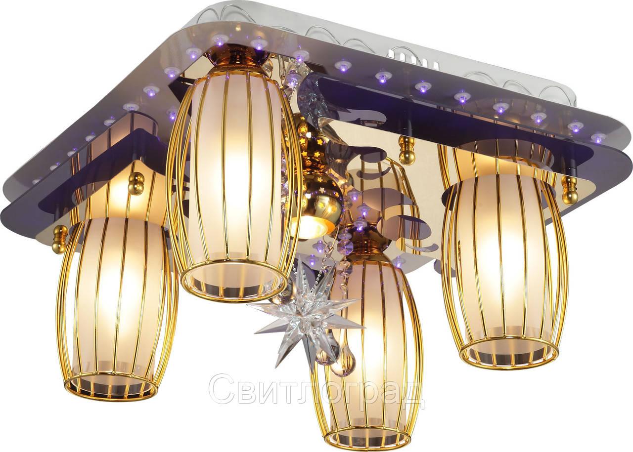 Светильник Потолочный с Led Подсветкой  с Плафонами  Altalusse LV218-15 White & Gold