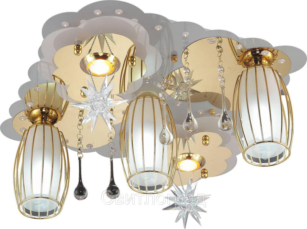 Светильник Потолочный с Led Подсветкой  с Плафонами  Altalusse LV219-05 White & Gold