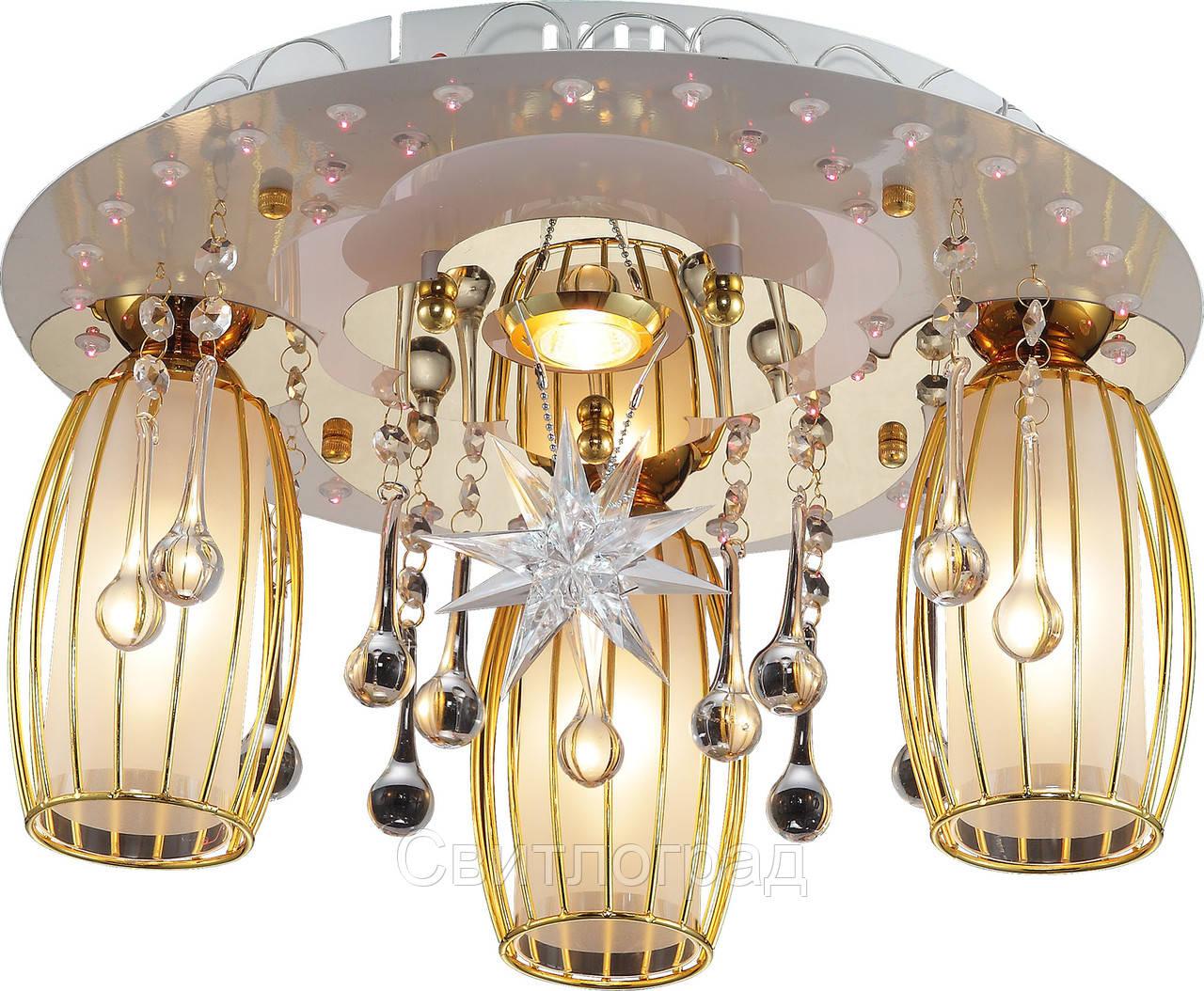 Светильник Потолочный с Led Подсветкой  с Плафонами  Altalusse LV219-04 White & Gold