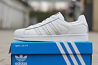 Кроссовки Adidas Superstar, женские, серебристые полоски