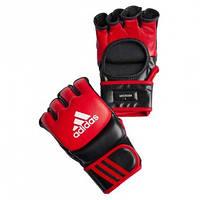 Тренировочные перчатки для MMA Adidas Combat Fight Gloves кожа красные