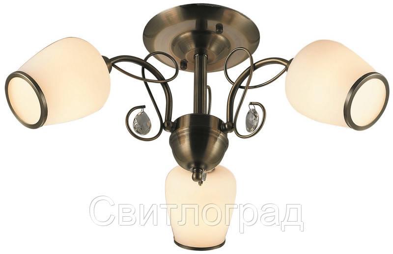 Люстра с Плафонами   Светильник Потолочный Altalusse INL-6108С-03 Antique Brass & Walnut