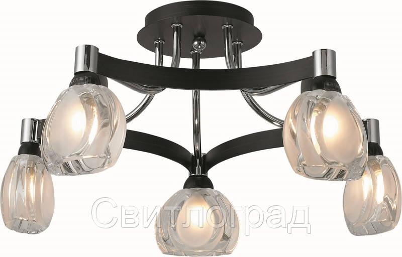 Люстра с Плафонами   Светильник Потолочный Altalusse INL-9212C-05 Chrome & Dark Wenge