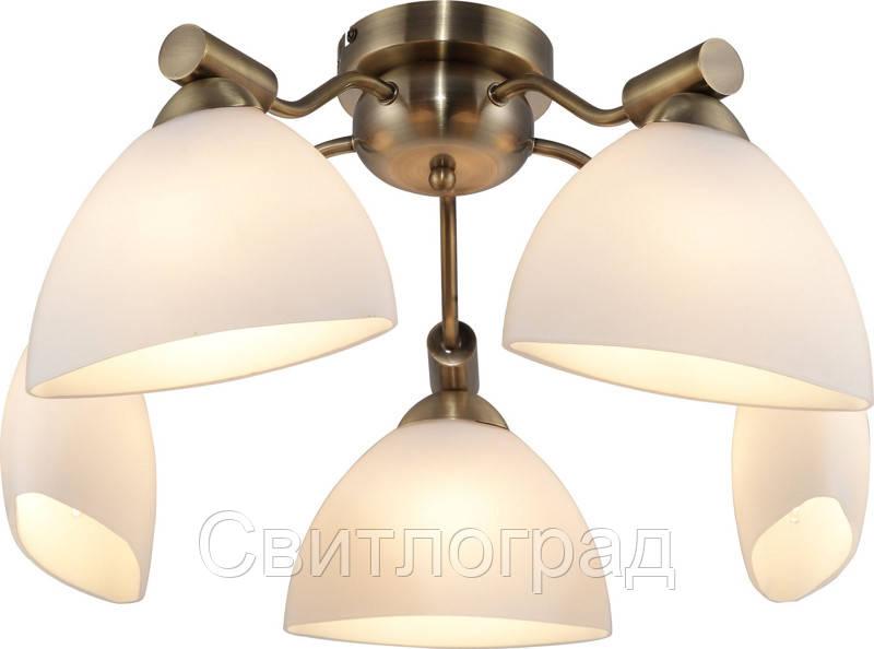 Люстра с Плафонами   Светильник Потолочный Altalusse INL-9281C-05 Antique Brass & Walnut
