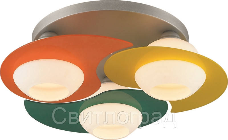 Люстра с Плафонами   Светильник Потолочный Altalusse INL-9291C-03 Silver & Green, Yellow, Orange