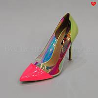 Женские туфли цветные силиконовая вставка Розовый носок