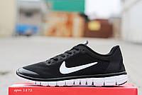 Женские кроссовки Nike Free Run 3.0 (черные с белой подошвой)