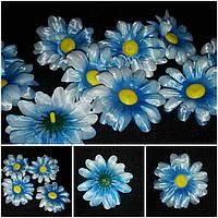 Бело-голубая ромашка (головы искусственных цветов), диам. 7 см., 7 шт. в упаковке, 10 гр.
