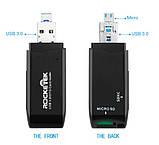 Картрідер cardreader Rocketek USB 3.0 MicroUSB OTG для SD, micro SD, SDXC, SDHC ЧОРНИЙ SKU0000670, фото 2