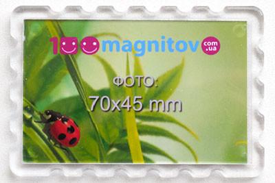 """Изготовление магнитов с фото. Акриловый магнит """"Марка"""" 78х52 мм на заказ"""