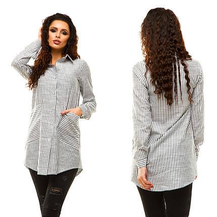 """Удлиненная женская рубашка-туника в полоску """"Laster"""" с карманами (3 цвета), фото 2"""