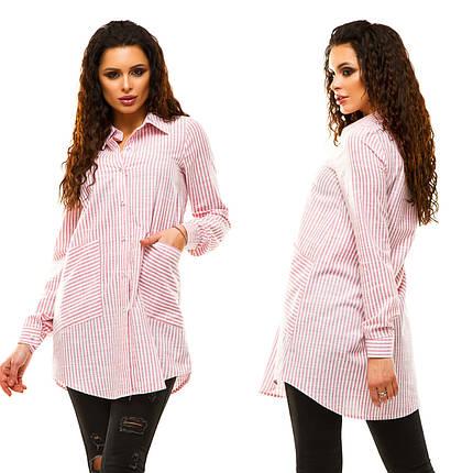 """Подовжена жіноча сорочка-туніка в смужку """"Laster"""" з кишенями (2 кольори), фото 2"""