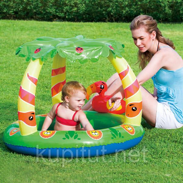 Детский надувной бассейн BestWay 52179 с навесом Джунгли