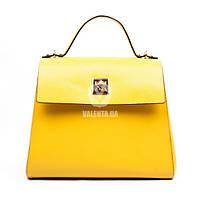Кожаная желтая женская сумка-келли Valenta