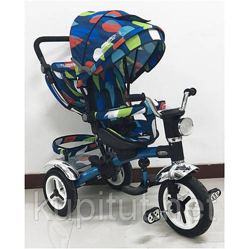 Детский трехколесный велосипед Turbo Trike M 3199-5HA, с фарой, голубая рама