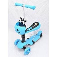Детский трехколесный самокат-толокар с корзинкой 0080 голубой