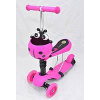 Детский трехколесный самокат-толокар с корзинкой 0080 розовый