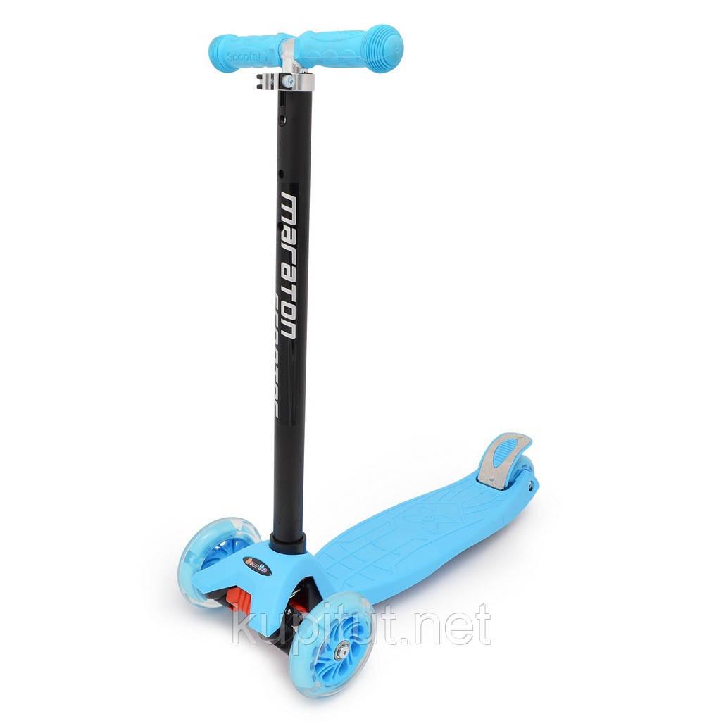 Детский трехколесный самокат со светящимися колесами 0098 синий
