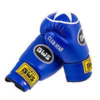 Боксерские перчатки BWS ClubStar синие 8oz-12oz