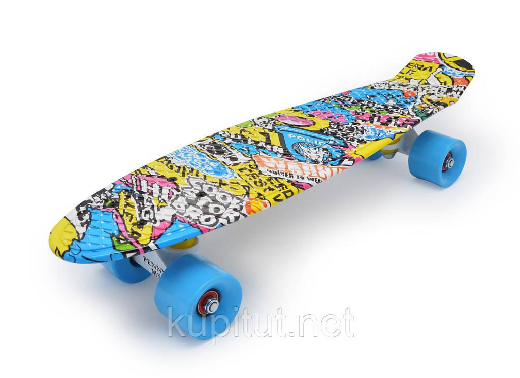 Пенни борд  LUSKY разноцветный, синие колёса