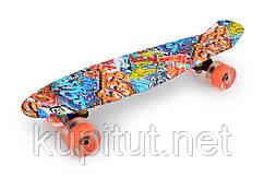Пенни борд, со светящимися колесами 40-2 оранжевый