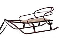 """Санки для детей и взрослых """"Спринтер"""" 7364, дерево (ясень/ольха), сталь, бордовый лак"""