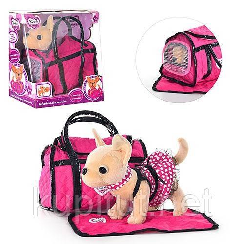 """Собачка """"Кикки"""" M 1621 , интерактивная детская игрушка. В комплекте - сумочка,коврик"""
