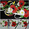 """Пояс украшен искусственными цветами """"Мак-ромашка"""", разные цвета ремешков, 65/60 (цена за 1 шт. + 5 гр.)"""
