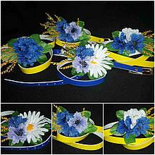 """Ошатний поясок декорований квітами """"Волошка-ромашка"""", різні кольори ремінців, 65/60 (ціна за 1 шт. + 5 гр.)"""