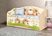"""Красивый и надежный диван """"Мишка с букетом"""" (Размер: 90х190 см) ТМ Вальтер-С Венге светлый D-1.09.37"""