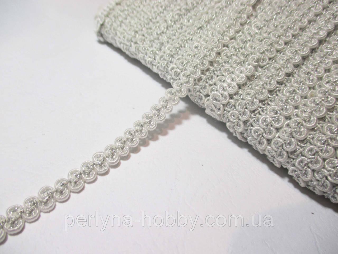 Тесьма декоративная Тасьма  декоративна шанель вузька 6мм, біла зі сріблом